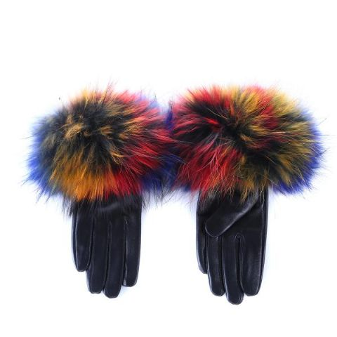 Anise Multicoloured  Fur Leather Gloves